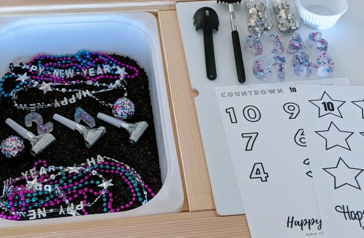 New Year's Sensory Bin with free printable
