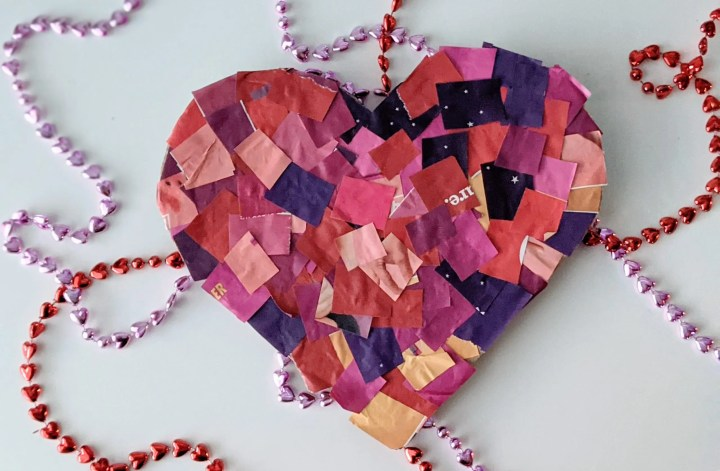 cardboard Valentine heart craft