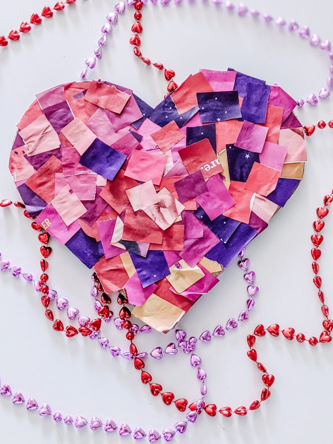 simple cardboard heart craft for kids to celebrate Valentine's Day