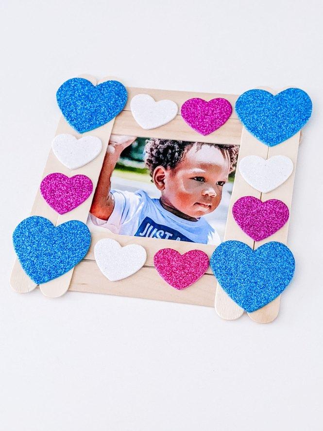 craft stick Valentine picture frame