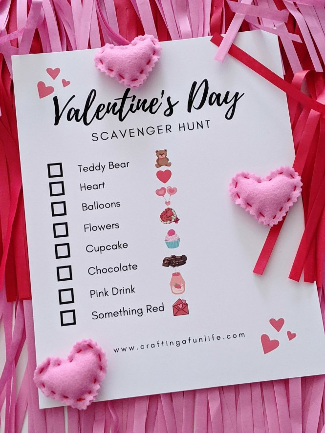 celebrate Valentine's Day with kids using this scavenger hunt printable