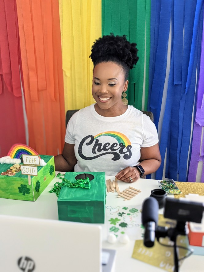 Karimah of Crafting a Fun Life showing viewers of Great Day Live Tampa how to make leprechaun trap via Zoom at home