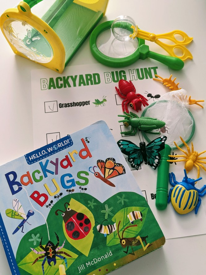 backyard bug hunt printable and toy bugs