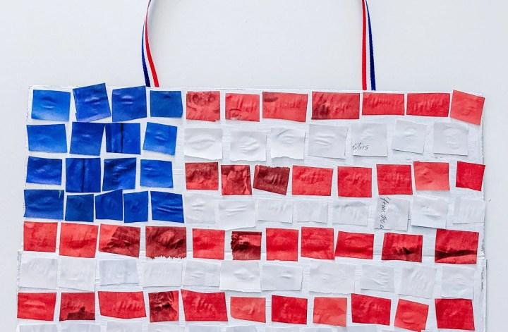 magazine mosaic American flag