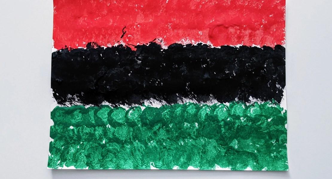Juneteenth flag painting using cotton balls