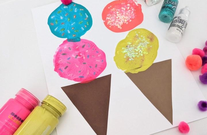 balloon stamping ice cream craft for kids