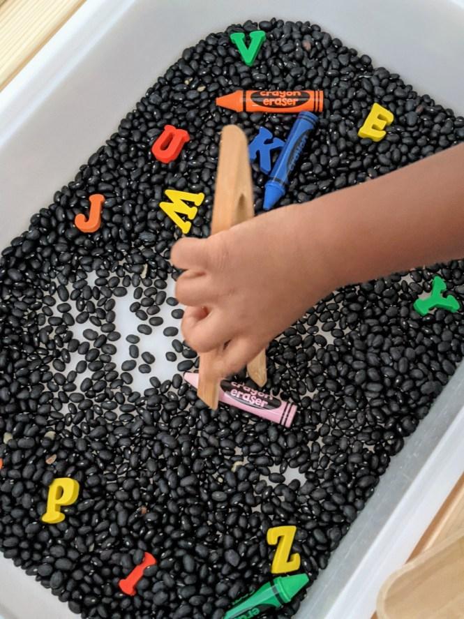 back to school sensory bin for kids