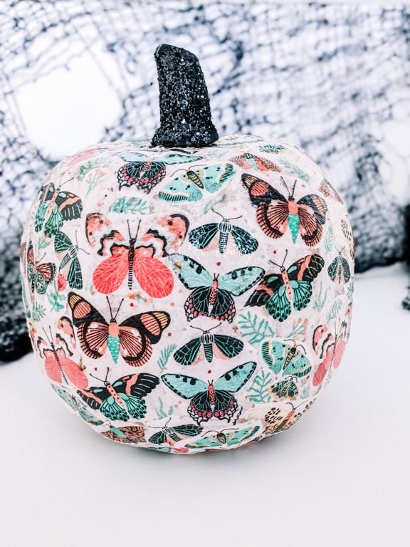decoupage pumpkin with butterfly prints