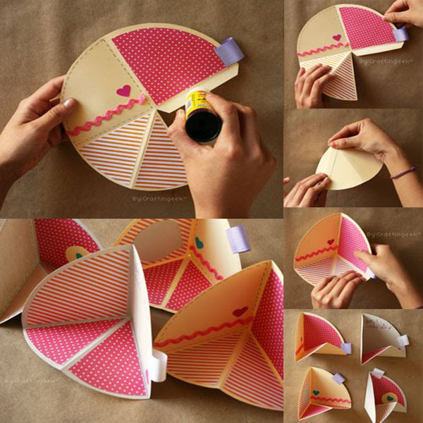como doblar una tarjeta circular