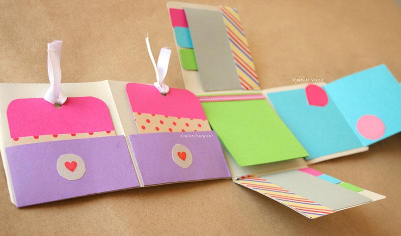 Album scrapbook mini pocket fold, manualidades para novio que puedes hacer con papel.