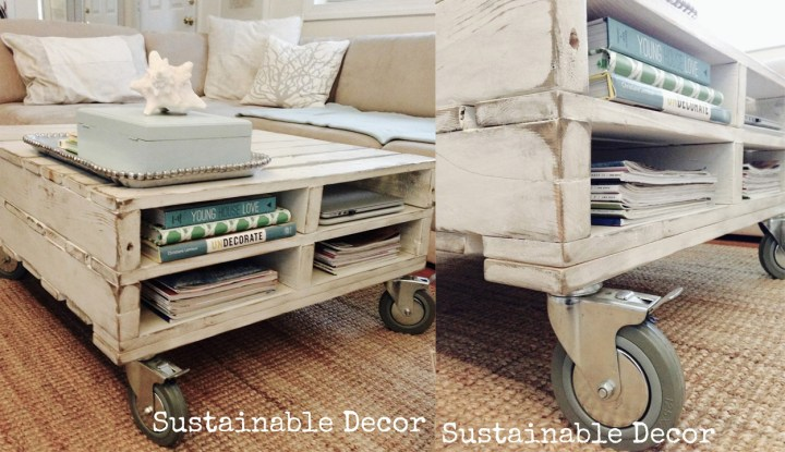 Mesa de centro reciclada hecha con pallets - coffe table
