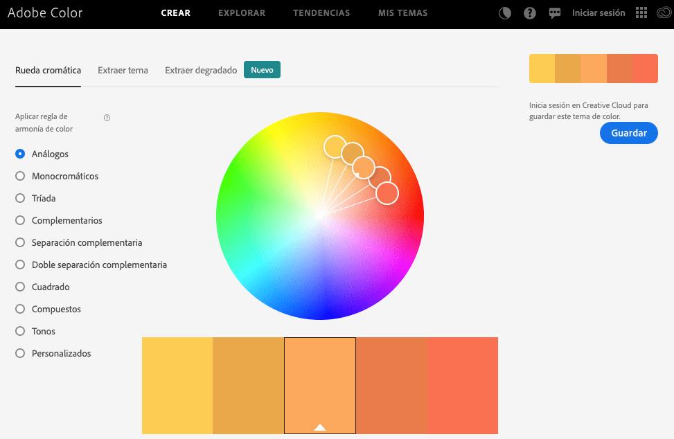 Adobe color: Haz paletas de color para tus proyectos digitales