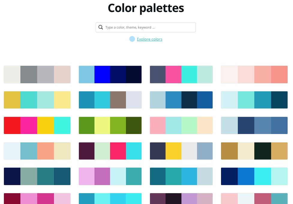 Color palette generador online: Canva