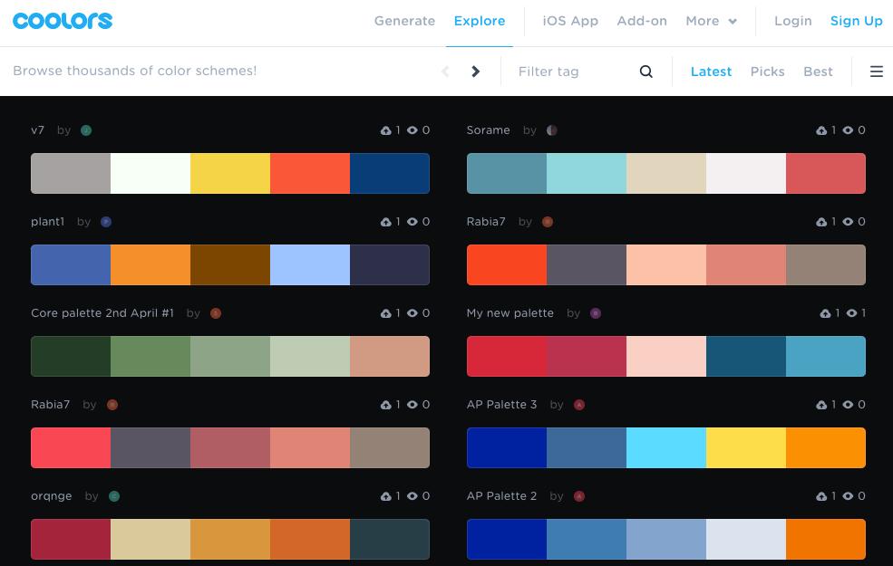 Combinaciones de colores en coolors