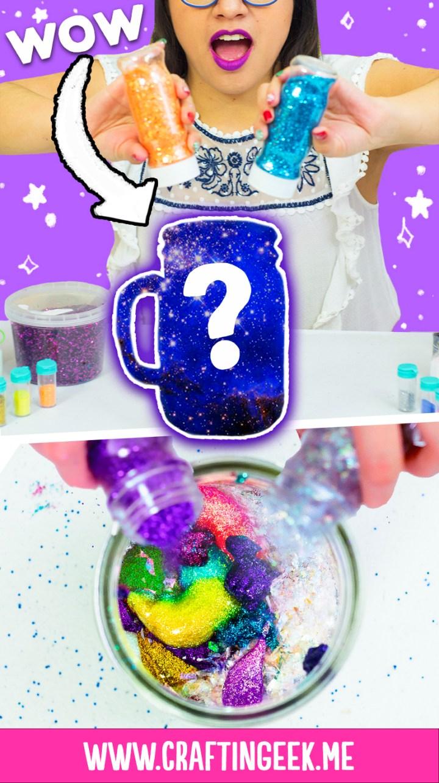 mezclando glitters de colores