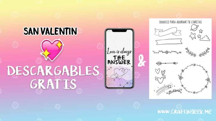 Wallpaper + Doodles descargables San Valentin