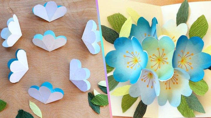 flores pop up-tarjeta