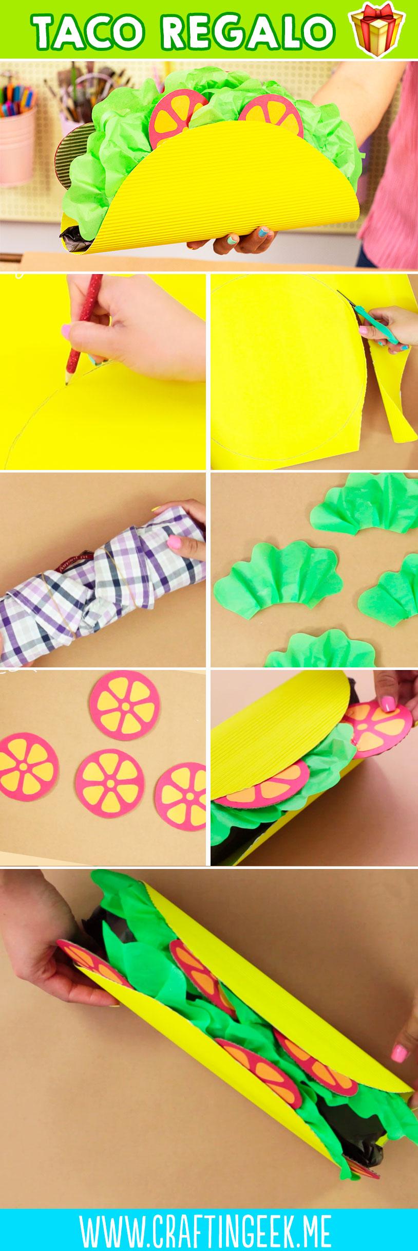 Como hacer una caja de regalo en forma de taco