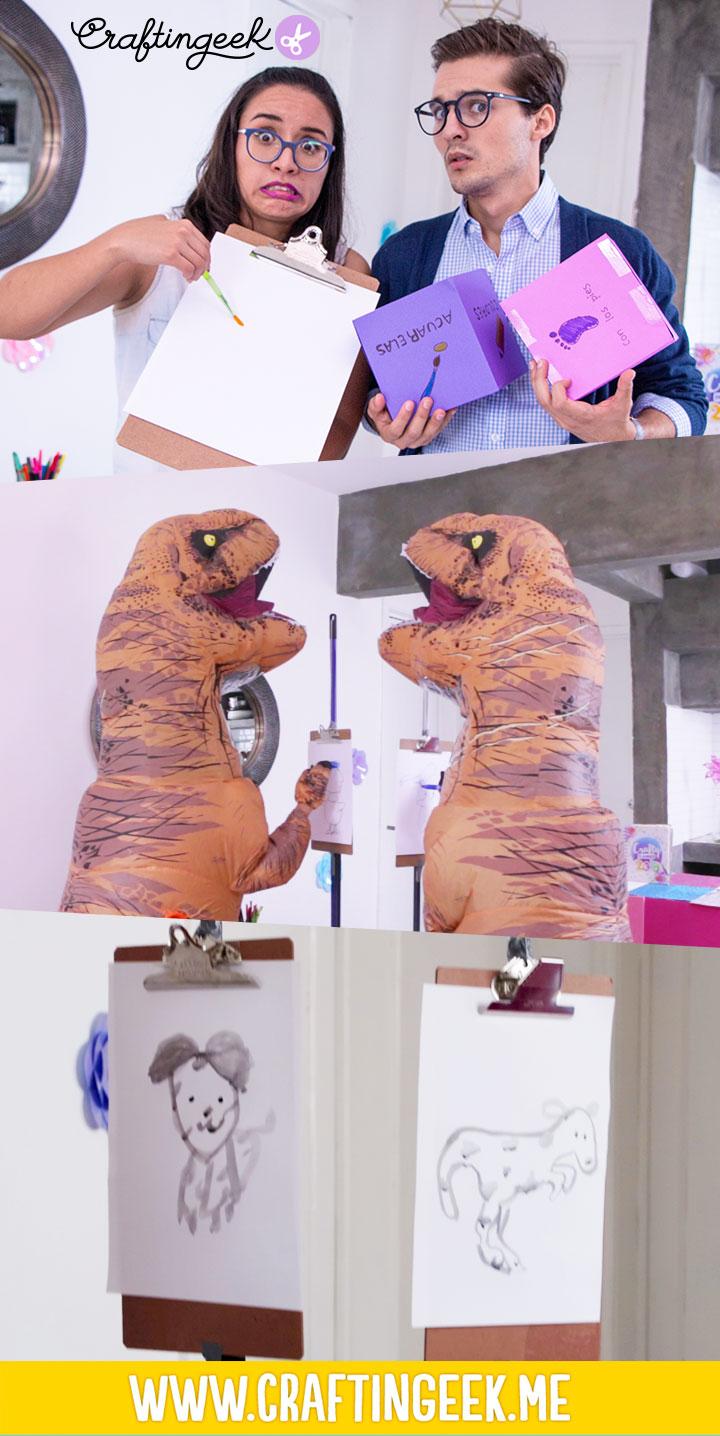 Dibujando con los pies y vestidos de T-Rex con Memo Aponte
