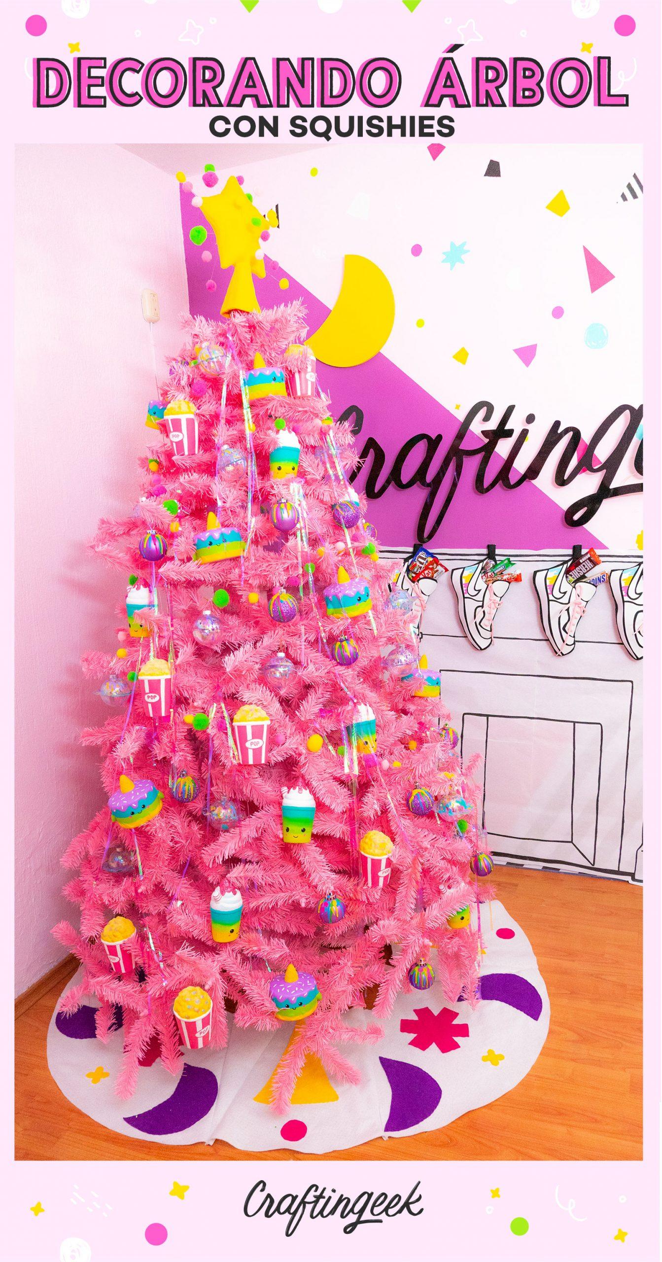 Llené mi árbol de navidad con squishies - Squishy Pink Christmas tree makeover