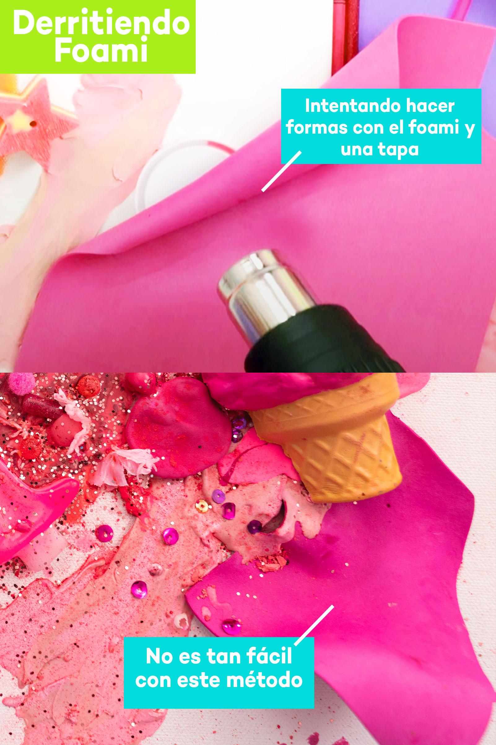 Derretí materiales de arte rosa para hacer esto
