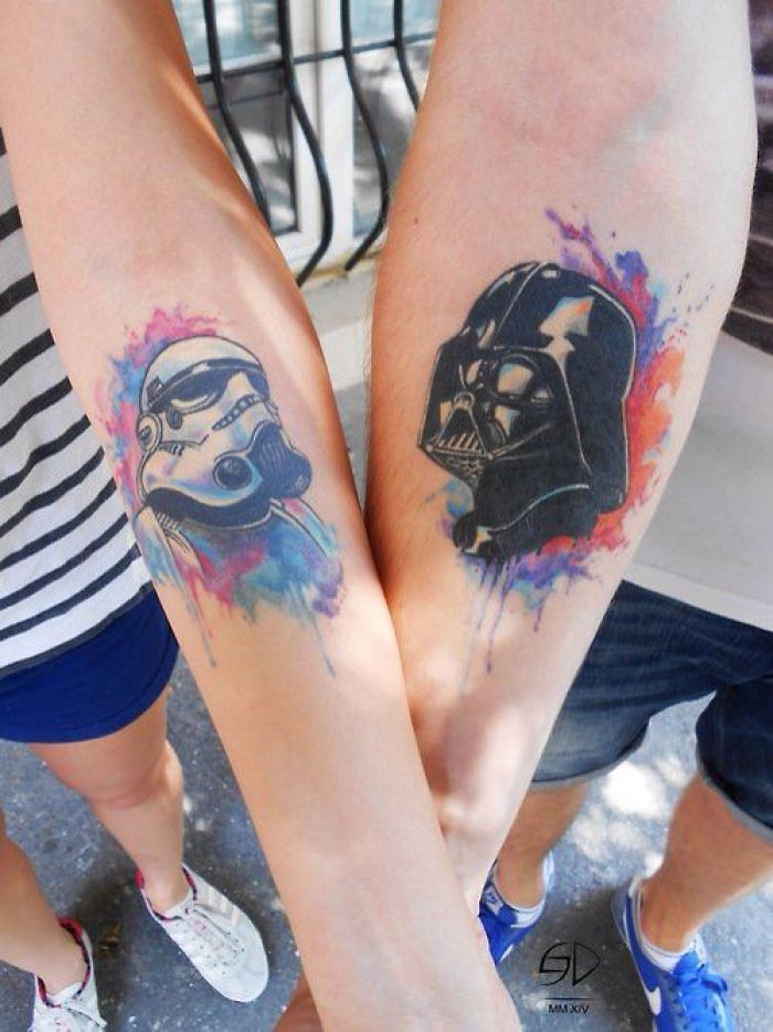 parejas, tatuajes de star wars para hacer juntos