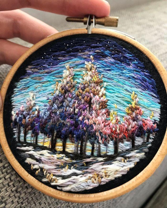 Paisajes de bordado que parecen pinturas
