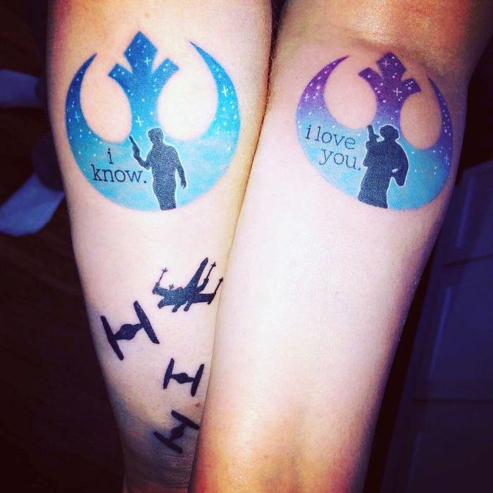 leia han tatuaje para parejas