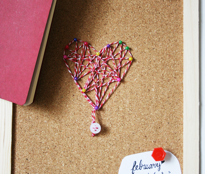 Thread heart art on cork | Crafting Fingers