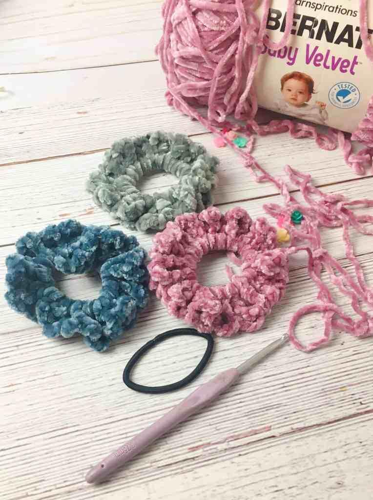 DIY Velvet Crochet Scrunchies Pattern How To Make