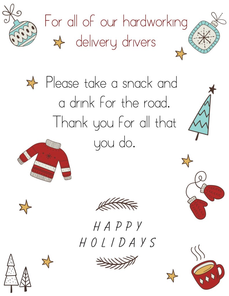 Delivery Driver Appreciation Sign
