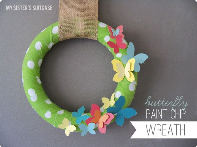 make spring paint chip wreath