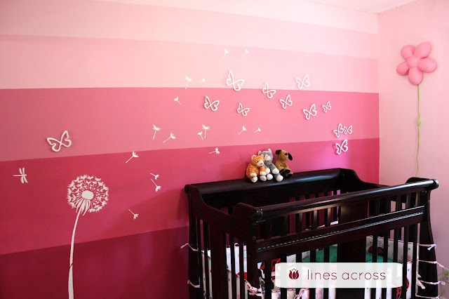 ombre pink accent wall