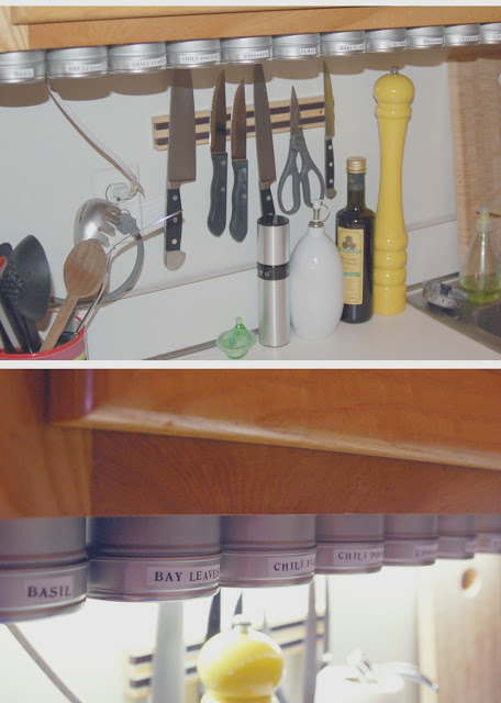 wall mounted spice rack wood