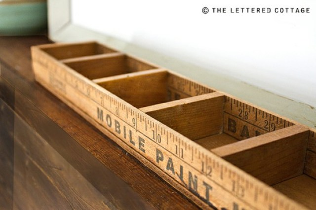 diy ruler sticks box organizer