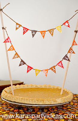 mini cake pennant bunting happy thanksgiving