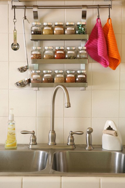 wall mounted spice racks for kitchen