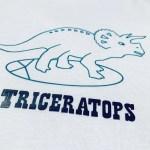 Tricou baieti, alb, triceratops