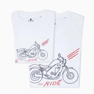Set tricouri, alb, motocicletă / copil-adult