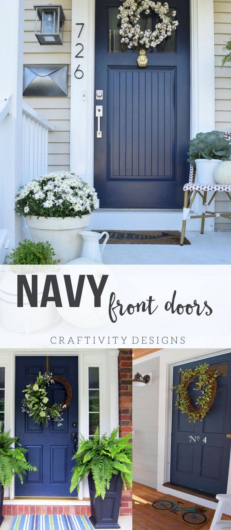Exterior Colors | Navy Front Door Ideas - Craftivity Designs on Door Color Ideas  id=19030