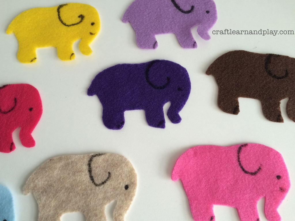 felt board one elephant went out to play craft learn and play
