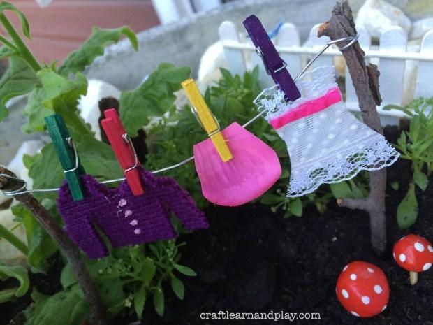 fairy garden clothesline