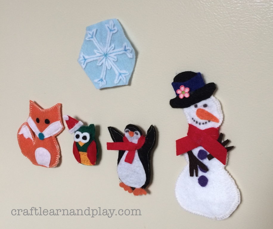 winter fridge magnets made of felt
