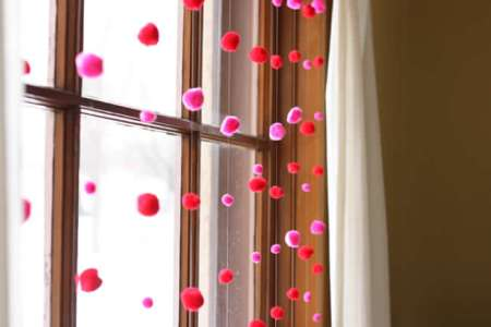 valentine window pom pom garland