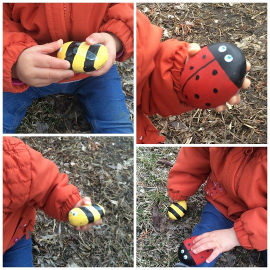 Painted stone and rock crafts - Ladybug and Bee rocks
