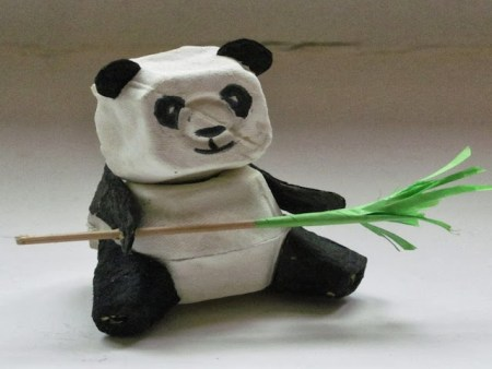 egg carton panda craft