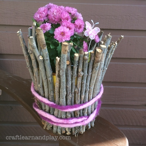 plant twig pot DIY