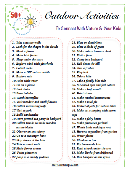 50+ nature activites to connect with nature and your kids PDF free printable