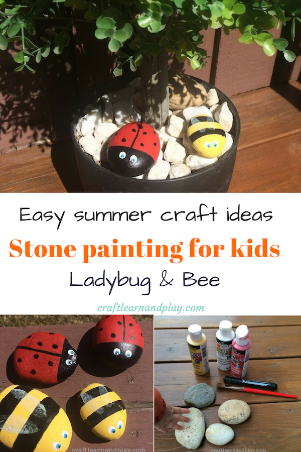 Awesome DIY spring or summer project for toddlers. Ladybug painted rock that make fun projects for kids. Stone painting Lady Bug and Bee craft are easy to make and makes neat decorative garden stones. Better yet, these stone painted bugs can be simple toy for children. Click for tutorial.