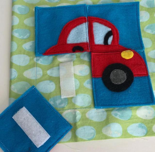 Car puzzle quiet book page PDF pattern & tutorial